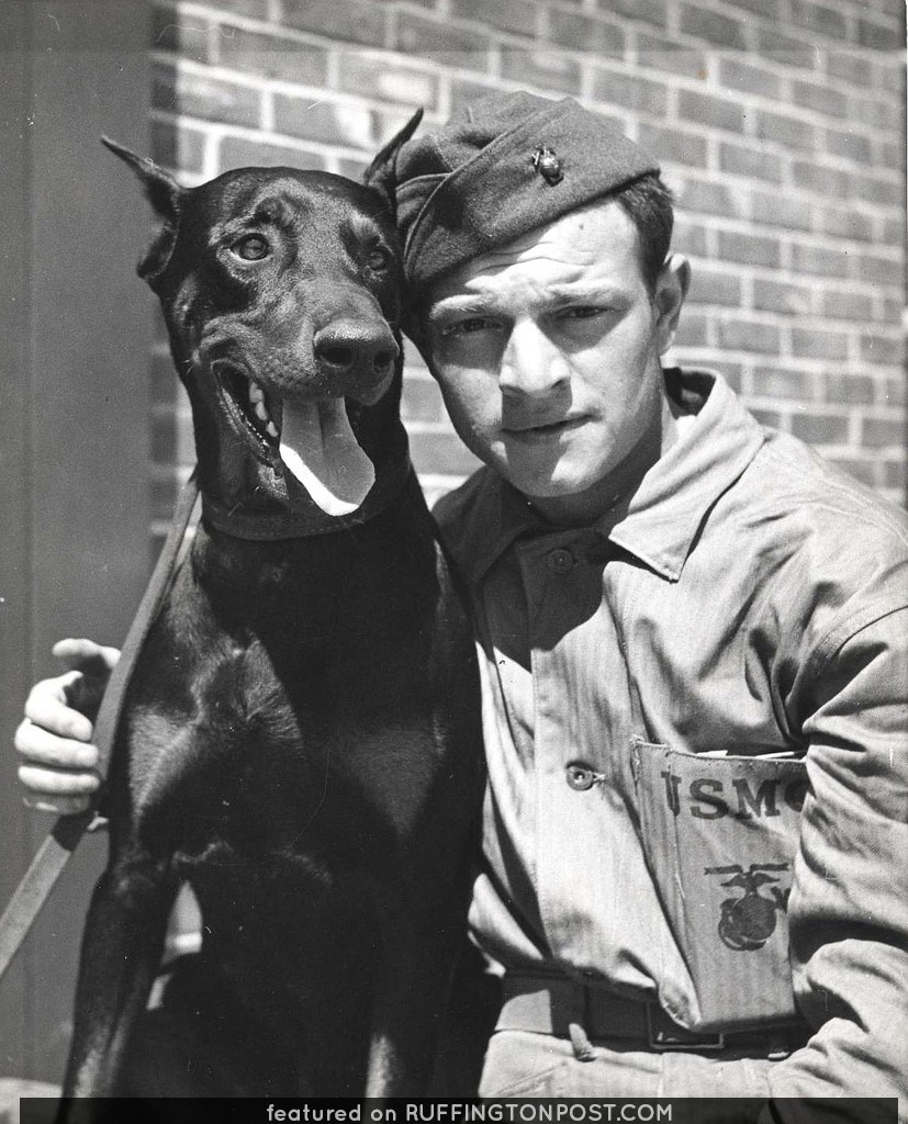 Private Alexander Boccardo and Doberman, ca. 1943